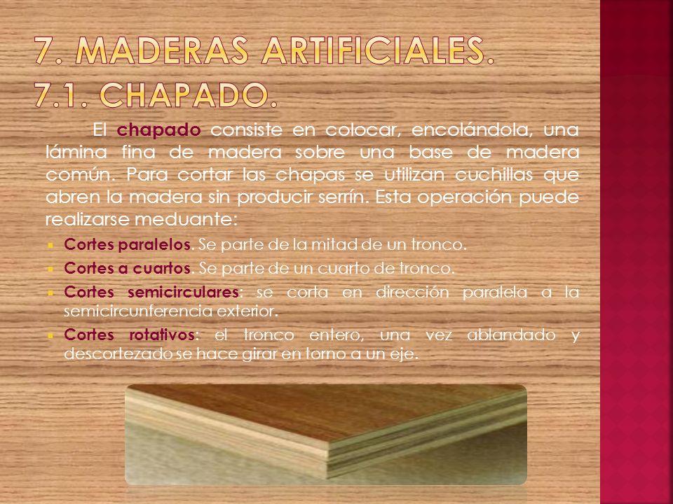 El chapado consiste en colocar, encolándola, una lámina fina de madera sobre una base de madera común. Para cortar las chapas se utilizan cuchillas qu