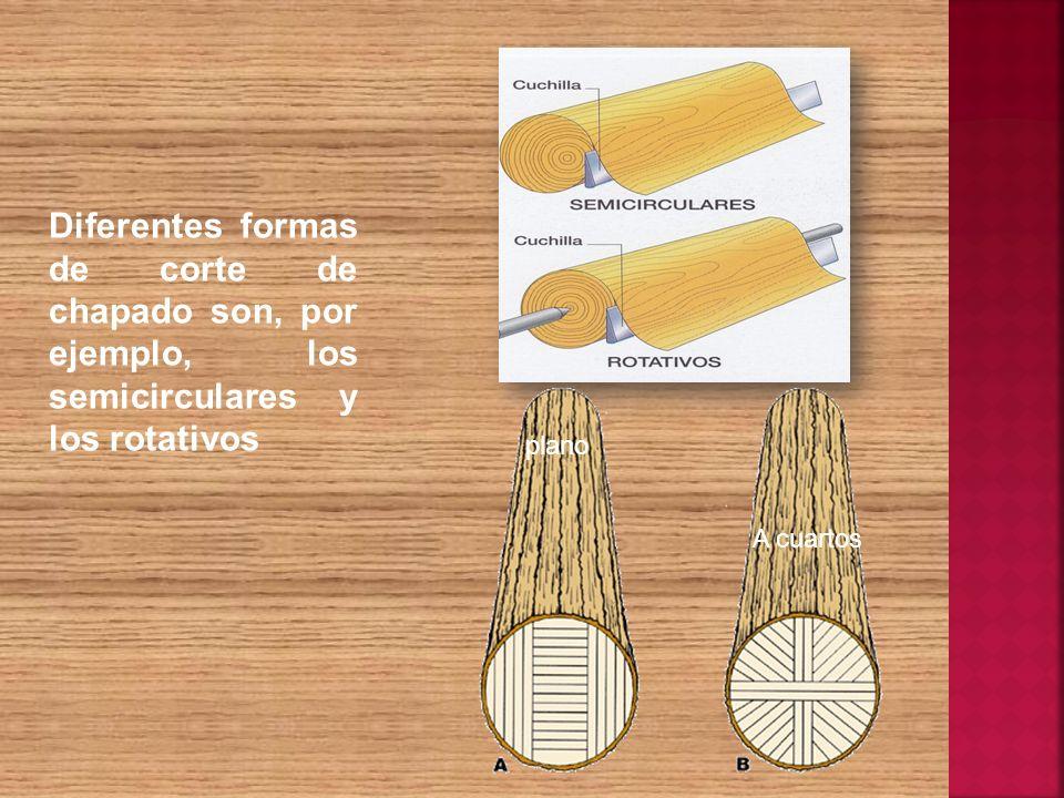 Diferentes formas de corte de chapado son, por ejemplo, los semicirculares y los rotativos plano A cuartos