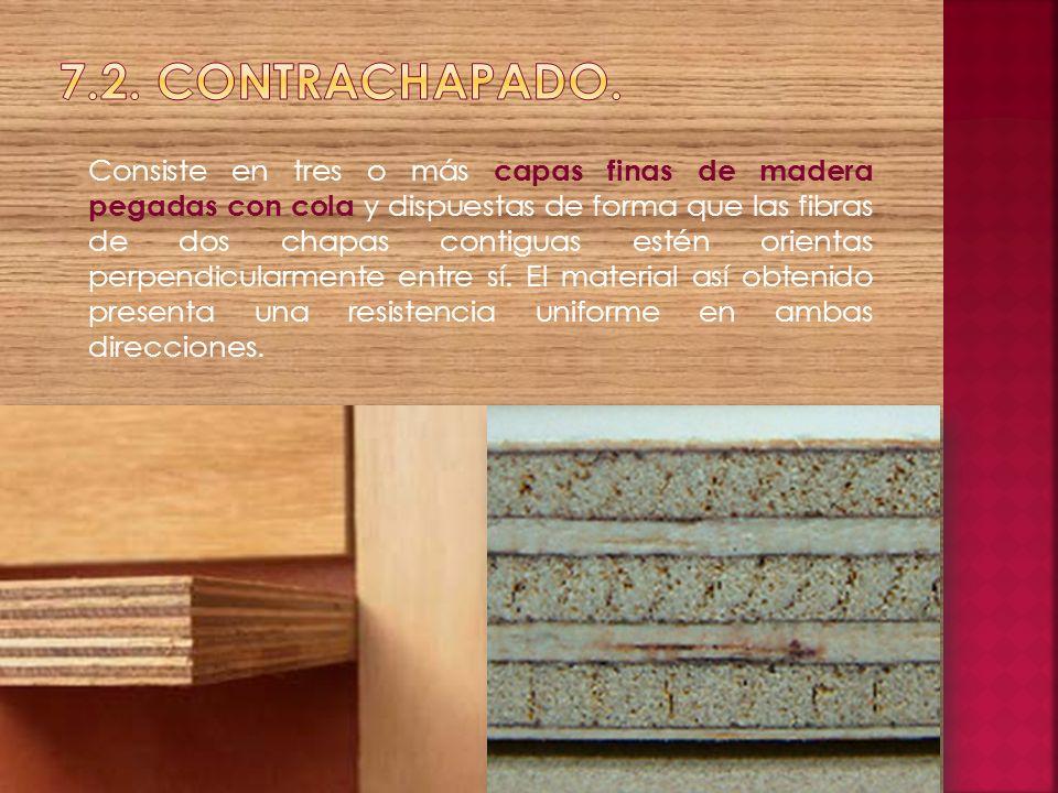 Consiste en tres o más capas finas de madera pegadas con cola y dispuestas de forma que las fibras de dos chapas contiguas estén orientas perpendicula