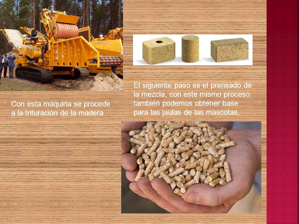 Con esta máquina se procede a la trituración de la madera El siguiente paso es el prensado de la mezcla, con este mismo proceso también podemos obtene