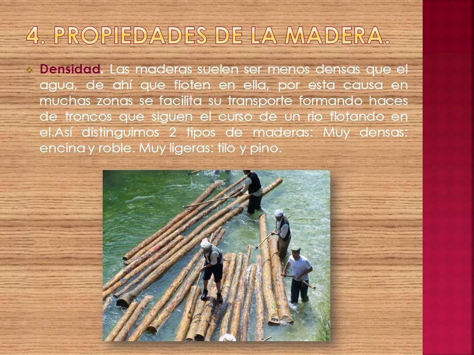 Densidad. Las maderas suelen ser menos densas que el agua, de ahí que floten en ella, por esta causa en muchas zonas se facilita su transporte formand