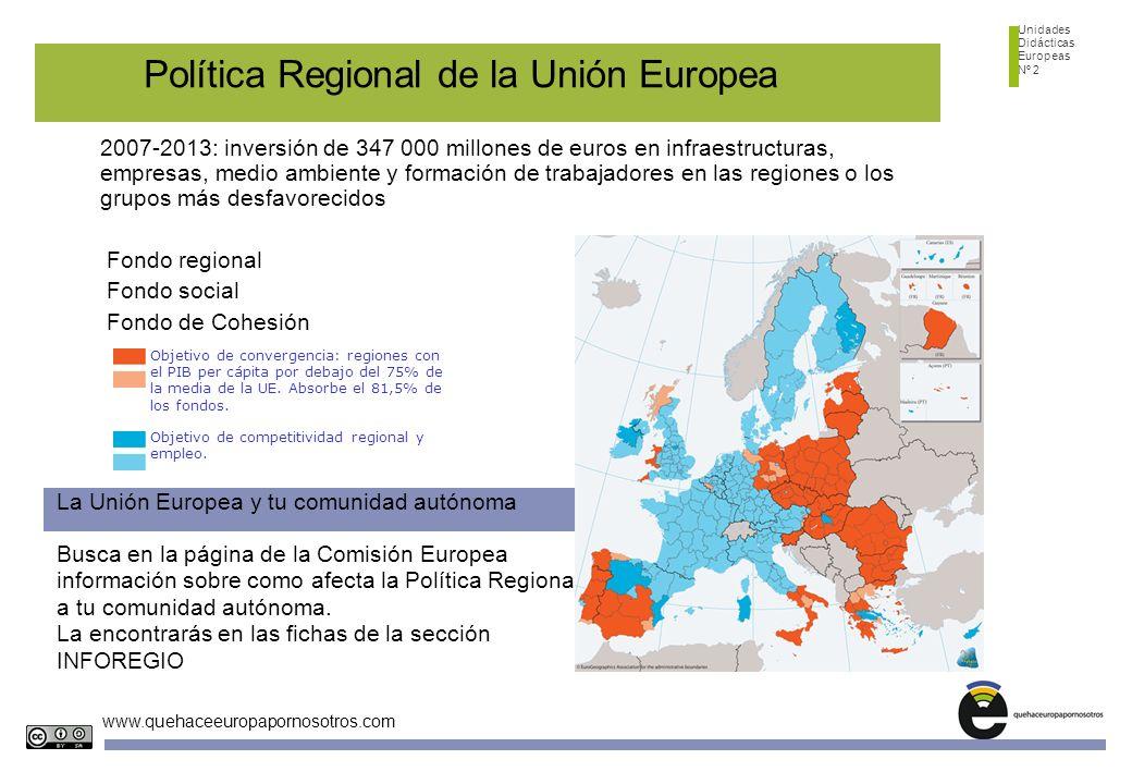 Unidades Didácticas Europeas Nº 2 www.quehaceeuropapornosotros.com Busca en la página de la Comisión Europea información sobre como afecta la Política