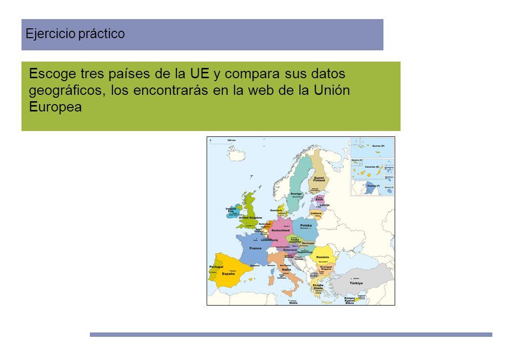 Unidades Didácticas Europeas Nº 2 www.quehaceeuropapornosotros.com 3º ESO Escoge tres países de la UE y compara sus datos geográficos, los encontrarás