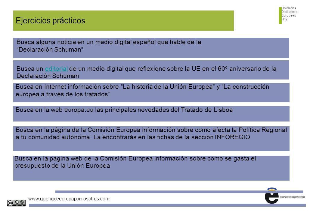 Unidades Didácticas Europeas Nº 2 www.quehaceeuropapornosotros.com Ejercicios prácticos Busca alguna noticia en un medio digital español que hable de