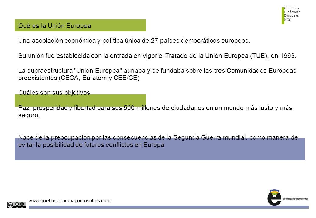 Unidades Didácticas Europeas Nº 2 www.quehaceeuropapornosotros.com Qué es la Unión Europea Una asociación económica y política única de 27 países demo