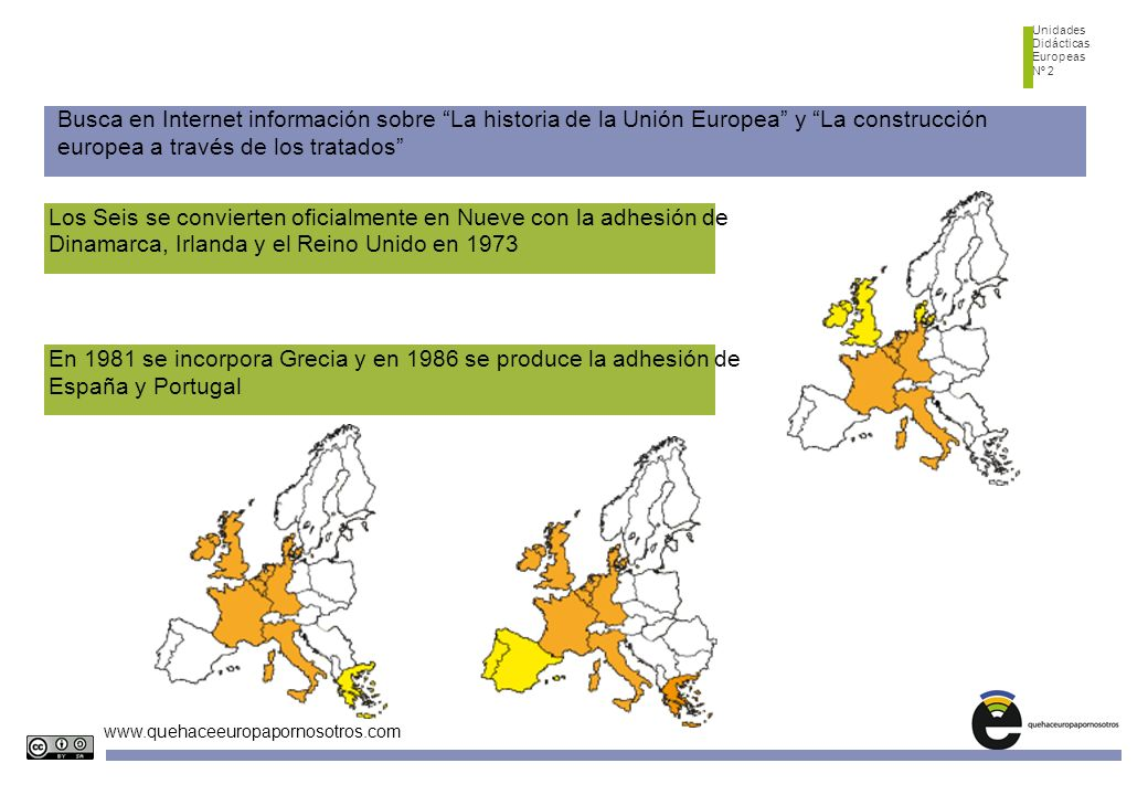 Unidades Didácticas Europeas Nº 2 www.quehaceeuropapornosotros.com Busca en Internet información sobre La historia de la Unión Europea y La construcci