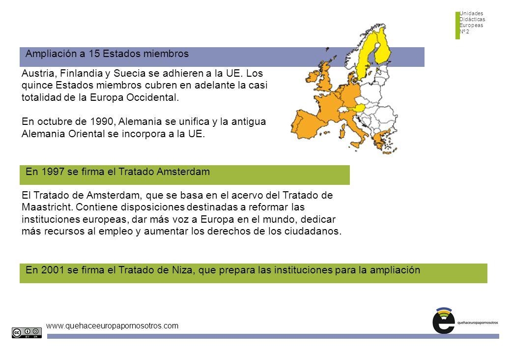 Unidades Didácticas Europeas Nº 2 www.quehaceeuropapornosotros.com Ampliación a 15 Estados miembros Austria, Finlandia y Suecia se adhieren a la UE.