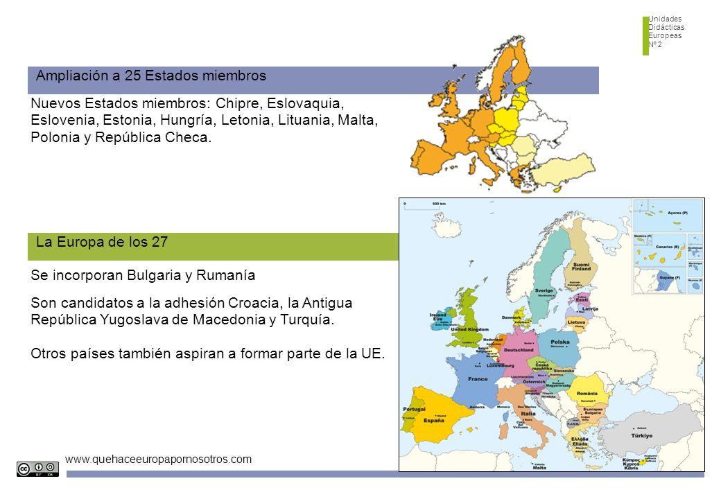 Unidades Didácticas Europeas Nº 2 www.quehaceeuropapornosotros.com Ampliación a 25 Estados miembros Nuevos Estados miembros: Chipre, Eslovaquia, Eslovenia, Estonia, Hungría, Letonia, Lituania, Malta, Polonia y República Checa.