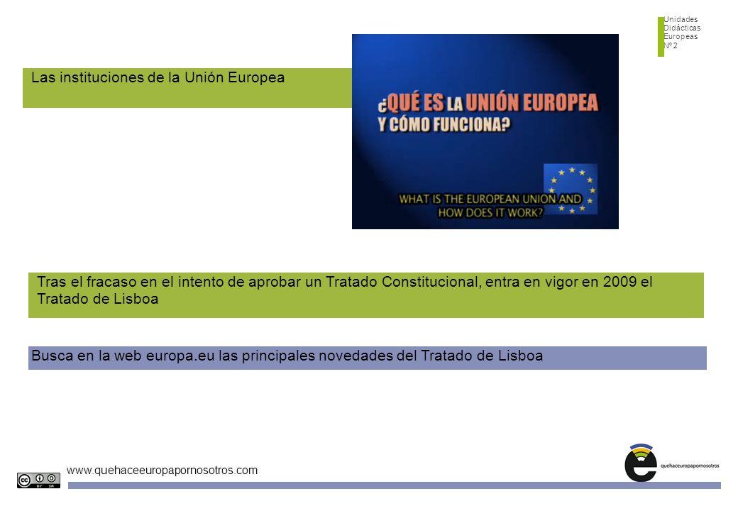 Unidades Didácticas Europeas Nº 2 www.quehaceeuropapornosotros.com ¿Qué es la Unión Europea? Las instituciones de la Unión Europea Busca en la web eur