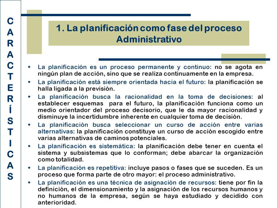 1. La planificación como fase del proceso Administrativo CARACTERÍSTICASCARACTERÍSTICAS La planificación es un proceso permanente y continuo: no se ag