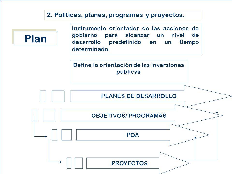 Instrumento orientador de las acciones de gobierno para alcanzar un nivel de desarrollo predefinido en un tiempo determinado.
