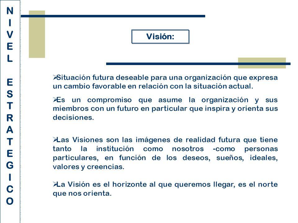 Visión: Situación futura deseable para una organización que expresa un cambio favorable en relación con la situación actual.