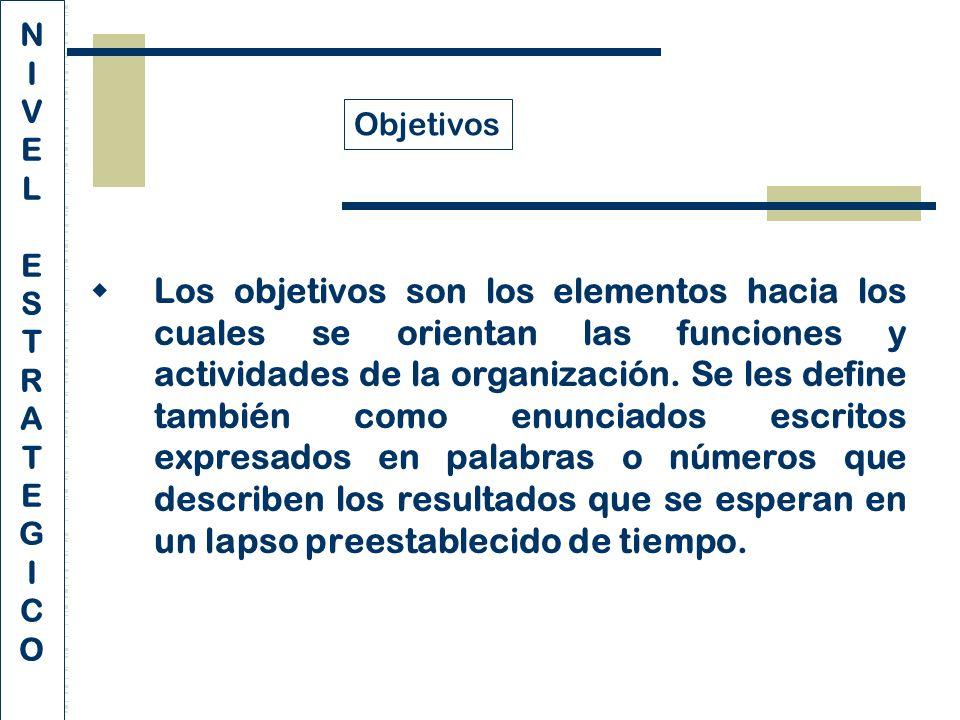 Los objetivos son los elementos hacia los cuales se orientan las funciones y actividades de la organización.