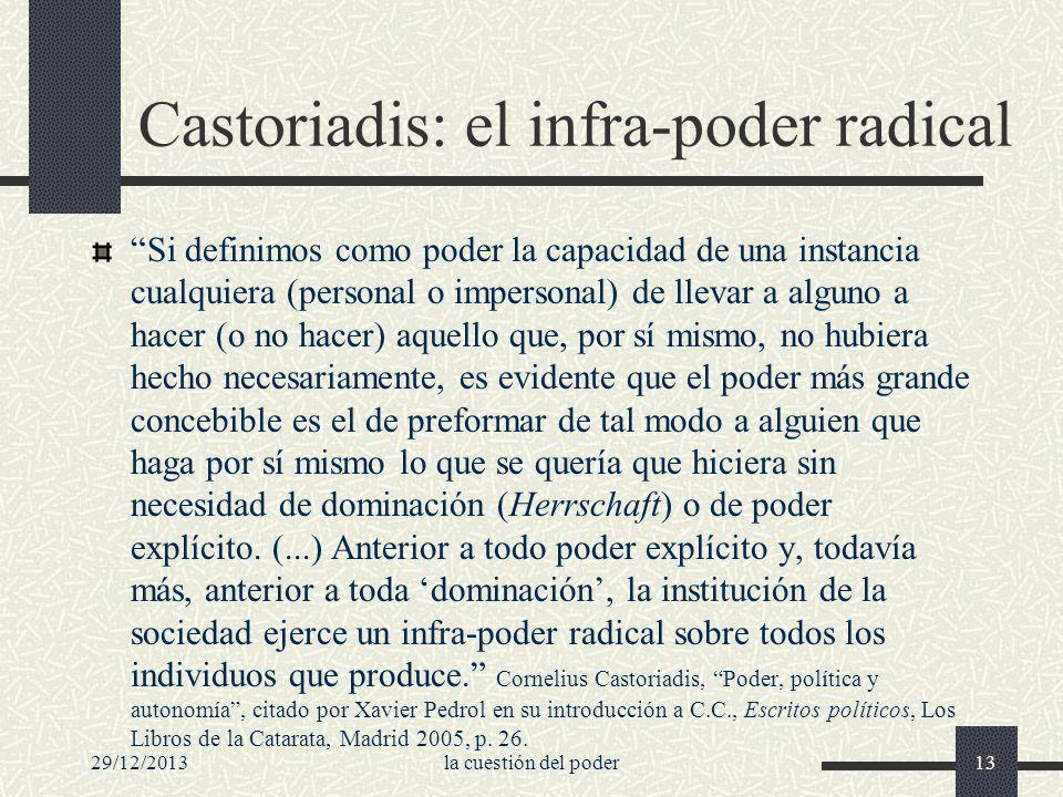 29/12/2013la cuestión del poder13 Castoriadis: el infra-poder radical Si definimos como poder la capacidad de una instancia cualquiera (personal o imp