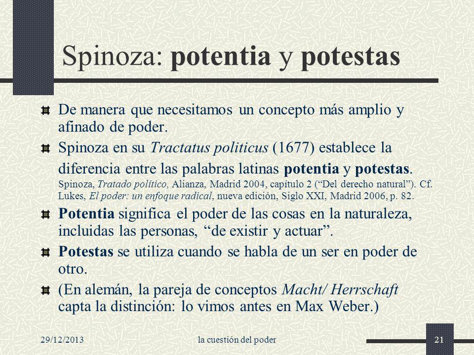 29/12/2013la cuestión del poder21 Spinoza: potentia y potestas De manera que necesitamos un concepto más amplio y afinado de poder. Spinoza en su Trac