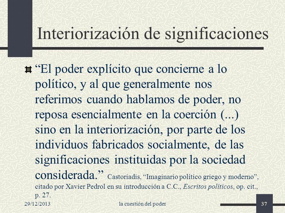 29/12/2013la cuestión del poder37 Interiorización de significaciones El poder explícito que concierne a lo político, y al que generalmente nos referim