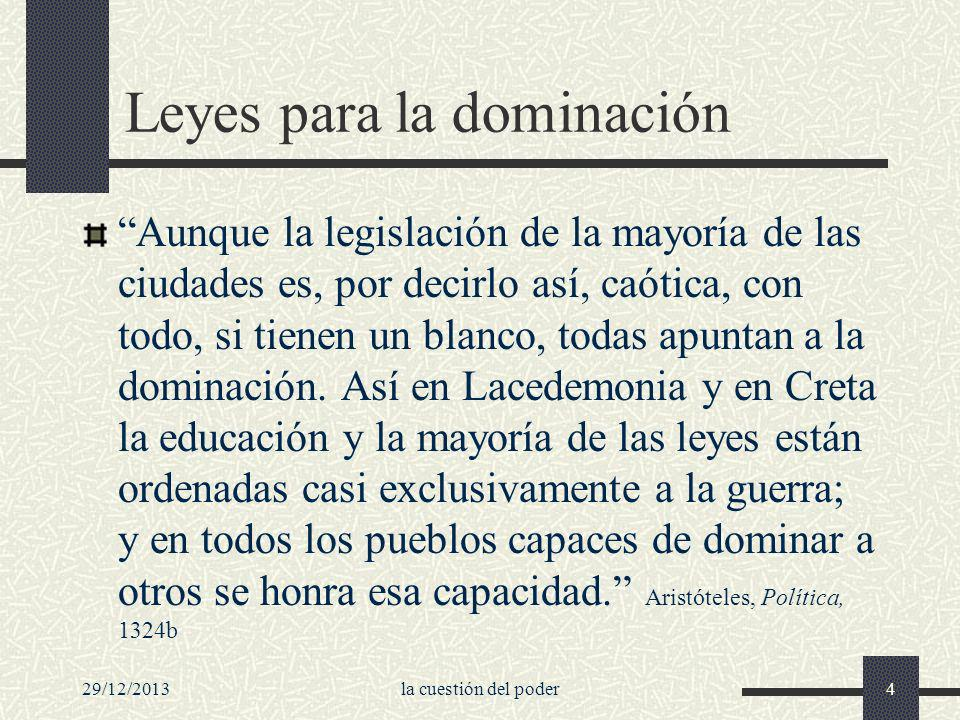29/12/2013la cuestión del poder4 Leyes para la dominación Aunque la legislación de la mayoría de las ciudades es, por decirlo así, caótica, con todo,