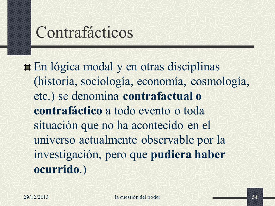 29/12/2013la cuestión del poder54 Contrafácticos En lógica modal y en otras disciplinas (historia, sociología, economía, cosmología, etc.) se denomina