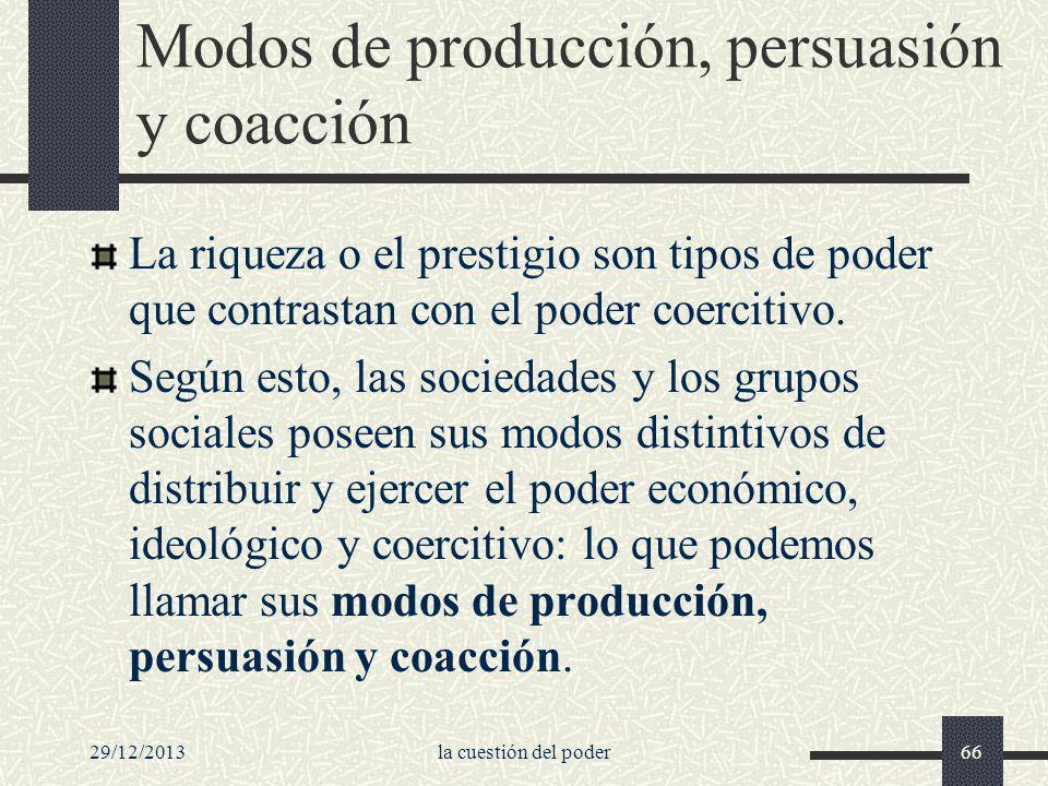 29/12/2013la cuestión del poder66 Modos de producción, persuasión y coacción La riqueza o el prestigio son tipos de poder que contrastan con el poder