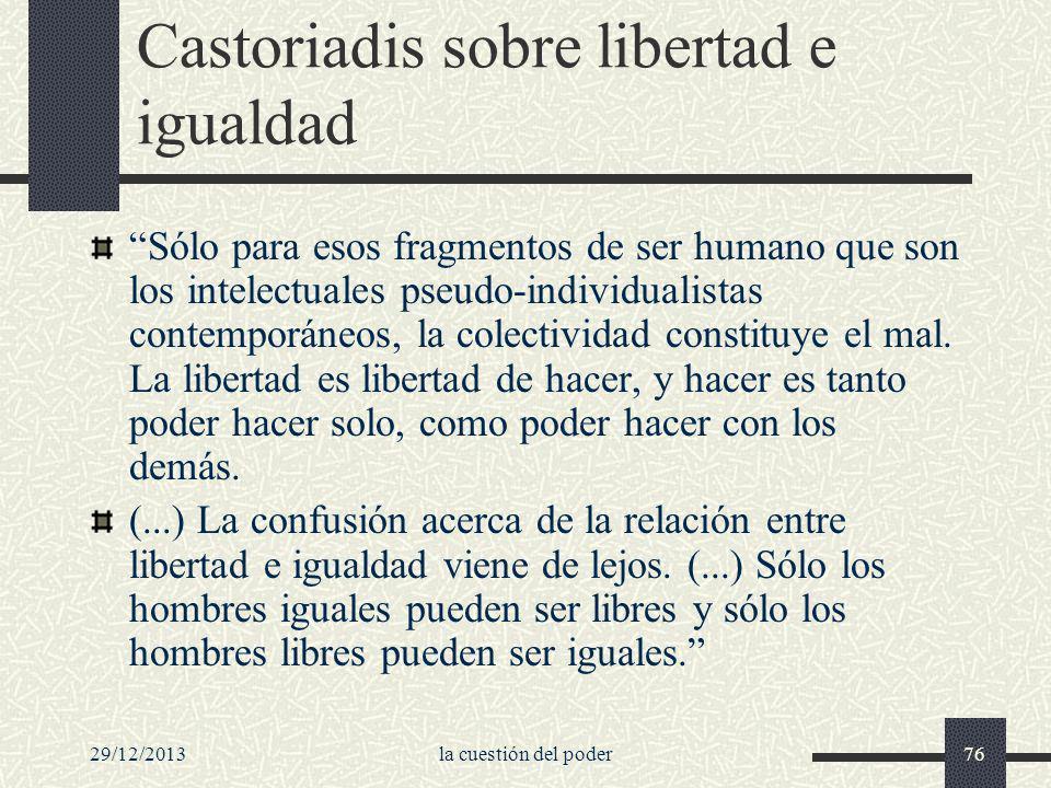 29/12/2013la cuestión del poder76 Castoriadis sobre libertad e igualdad Sólo para esos fragmentos de ser humano que son los intelectuales pseudo-indiv