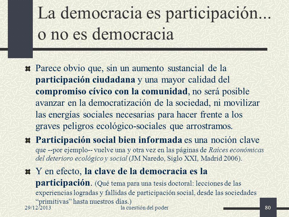 29/12/2013la cuestión del poder80 La democracia es participación... o no es democracia Parece obvio que, sin un aumento sustancial de la participación
