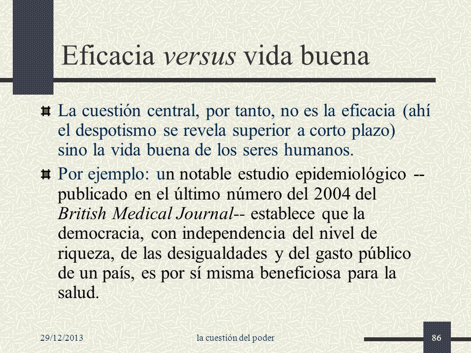 29/12/2013la cuestión del poder86 Eficacia versus vida buena La cuestión central, por tanto, no es la eficacia (ahí el despotismo se revela superior a