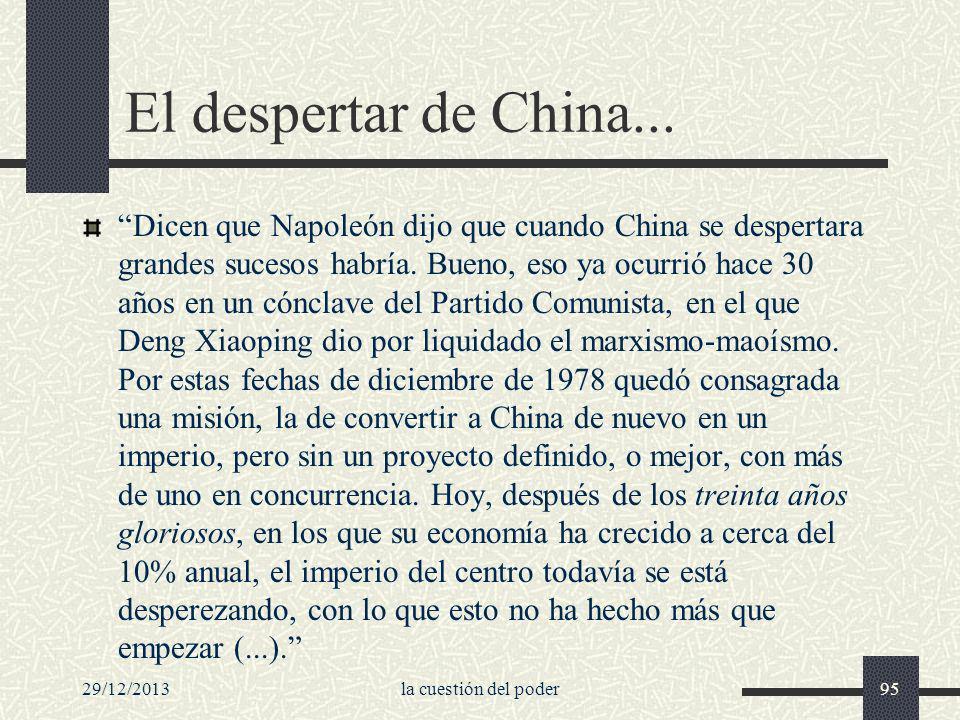 29/12/2013la cuestión del poder95 El despertar de China... Dicen que Napoleón dijo que cuando China se despertara grandes sucesos habría. Bueno, eso y