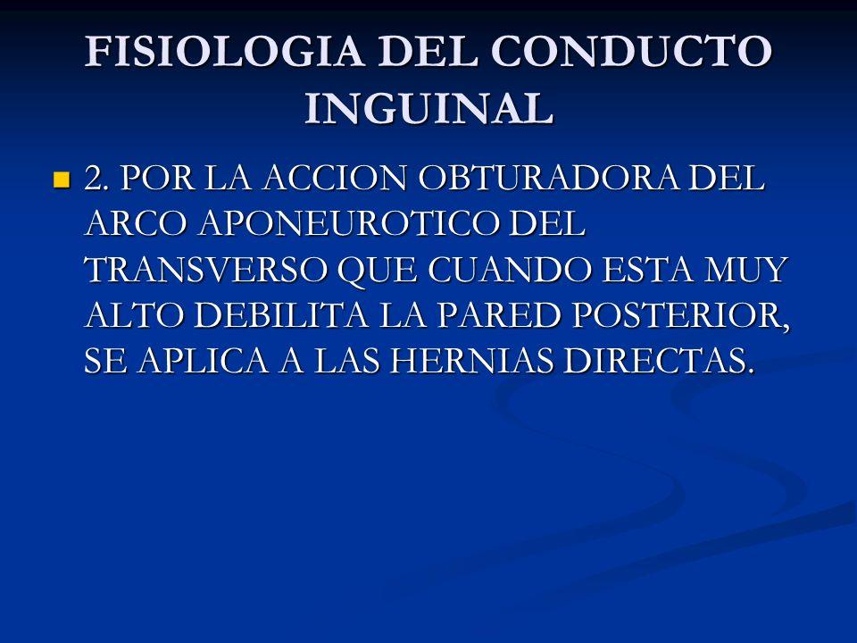 FISIOLOGIA DEL CONDUCTO INGUIANAL DOS TEORIAS PARA CONSERVAR SU INTEGRIDAD. DOS TEORIAS PARA CONSERVAR SU INTEGRIDAD. 1. POR LA ACCION DE ESFINTER DEL