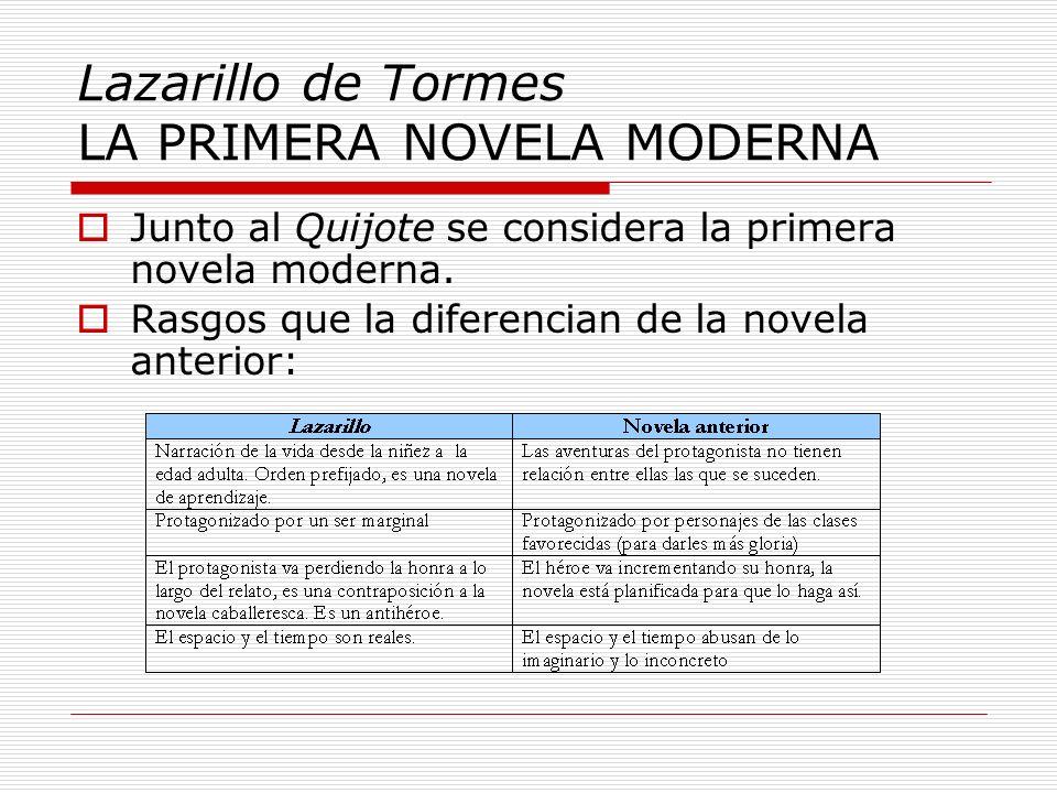 Lazarillo de Tormes LA PRIMERA NOVELA MODERNA Junto al Quijote se considera la primera novela moderna. Rasgos que la diferencian de la novela anterior