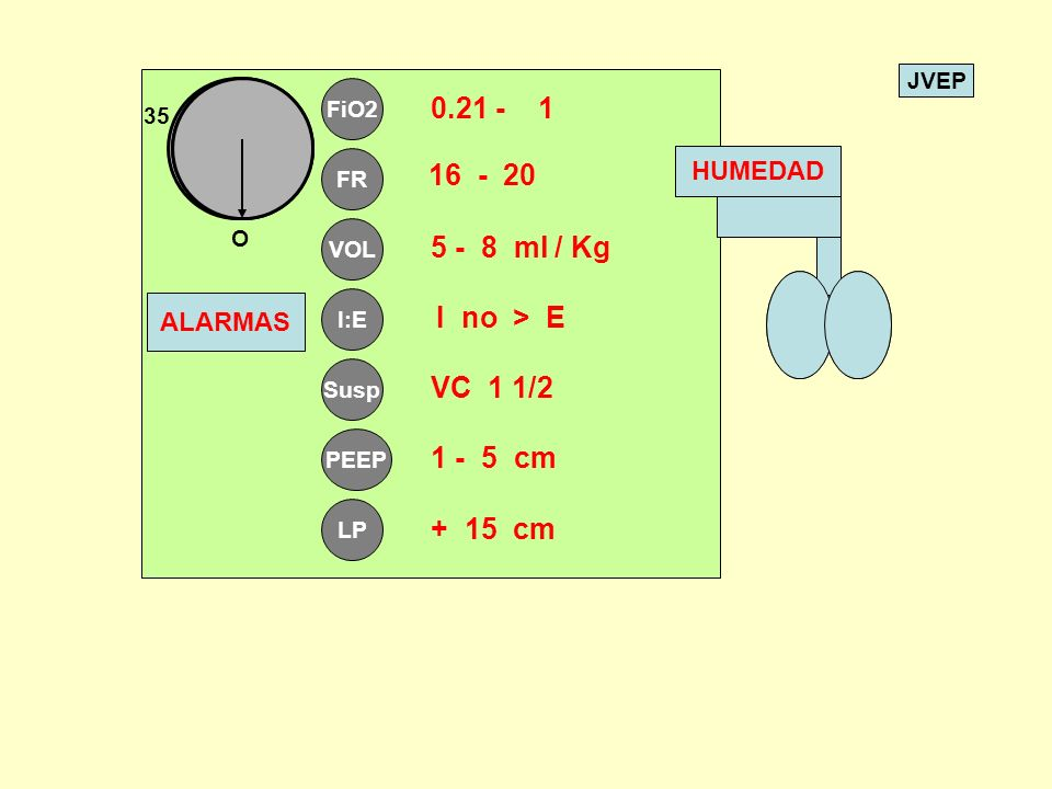 JVEP FiO2 FR VOL I:E Susp PEEP LP O 35 0.21 - 1 I no > E VC 1 1/2 1 - 5 cm + 15 cm ALARMAS 16 - 20 5 - 8 ml / Kg HUMEDAD