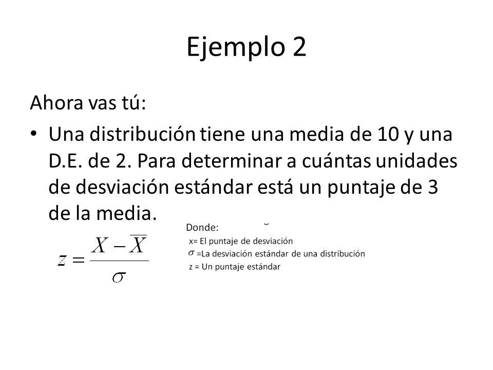 Ejemplo 2 Ahora vas tú: Una distribución tiene una media de 10 y una D.E. de 2. Para determinar a cuántas unidades de desviación estándar está un punt