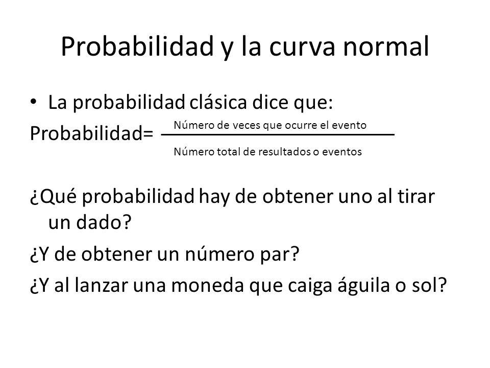 Probabilidad y la curva normal La probabilidad clásica dice que: Probabilidad= ¿Qué probabilidad hay de obtener uno al tirar un dado? ¿Y de obtener un