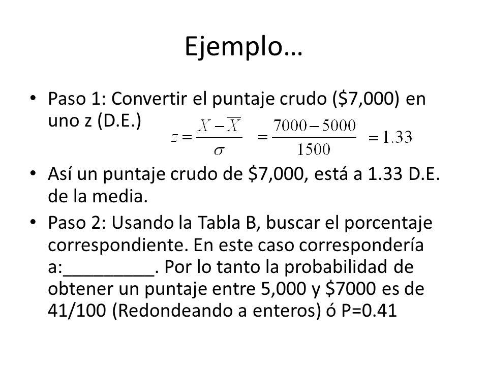 Ejemplo… Paso 1: Convertir el puntaje crudo ($7,000) en uno z (D.E.) Así un puntaje crudo de $7,000, está a 1.33 D.E. de la media. Paso 2: Usando la T