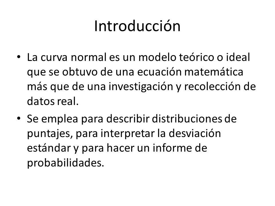Introducción La curva normal es un modelo teórico o ideal que se obtuvo de una ecuación matemática más que de una investigación y recolección de datos