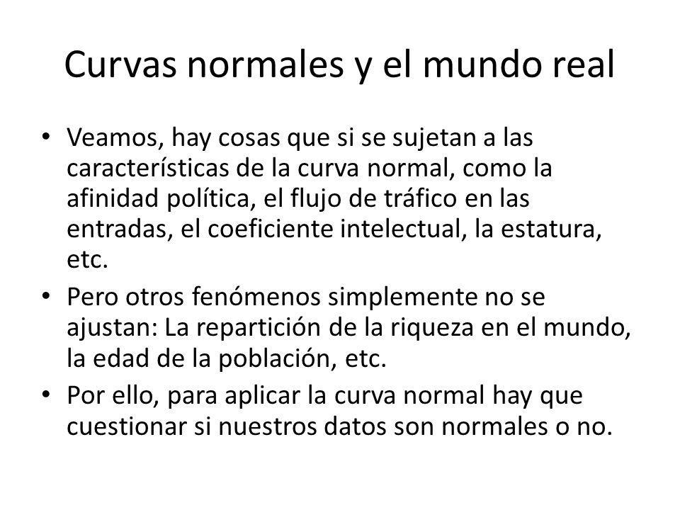 Curvas normales y el mundo real Veamos, hay cosas que si se sujetan a las características de la curva normal, como la afinidad política, el flujo de t