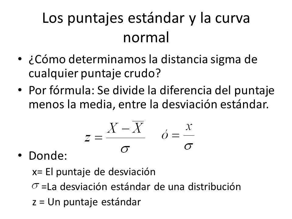 Los puntajes estándar y la curva normal ¿Cómo determinamos la distancia sigma de cualquier puntaje crudo? Por fórmula: Se divide la diferencia del pun