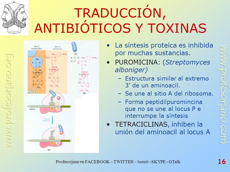 Profesorjano en FACEBOOK – TWITTER – tuenti –SKYPE - GTalk 16 TRADUCCIÓN, ANTIBIÓTICOS Y TOXINAS La síntesis proteica es inhibida por muchas sustancia