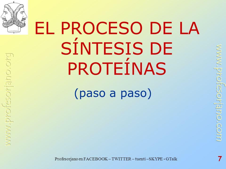 Profesorjano en FACEBOOK – TWITTER – tuenti –SKYPE - GTalk 7 EL PROCESO DE LA SÍNTESIS DE PROTEÍNAS (paso a paso)