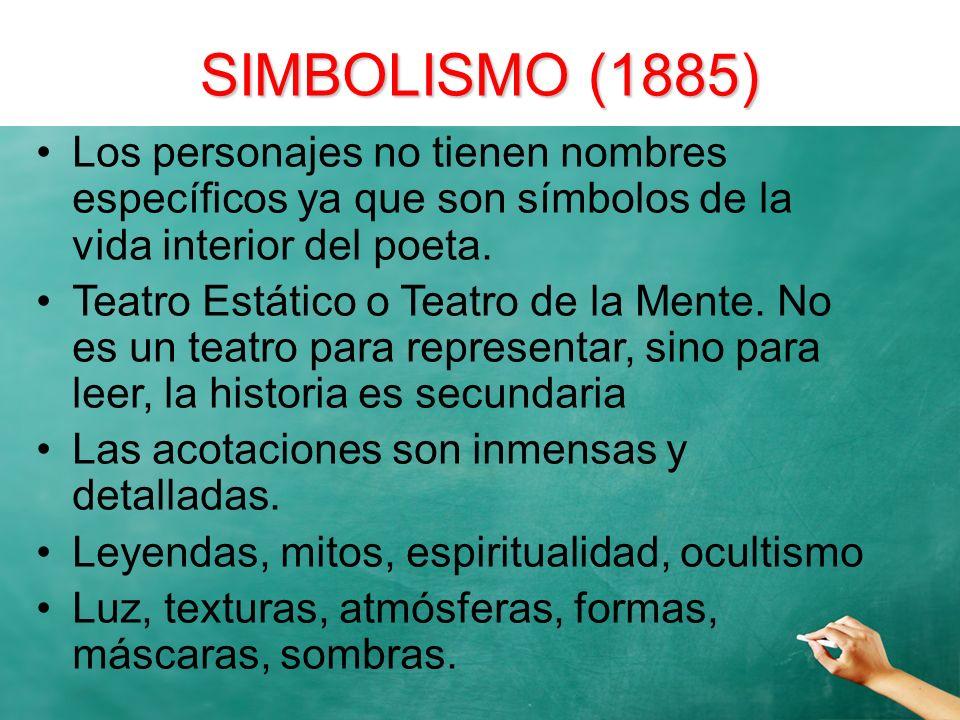 SIMBOLISMO (1885) Los personajes no tienen nombres específicos ya que son símbolos de la vida interior del poeta. Teatro Estático o Teatro de la Mente