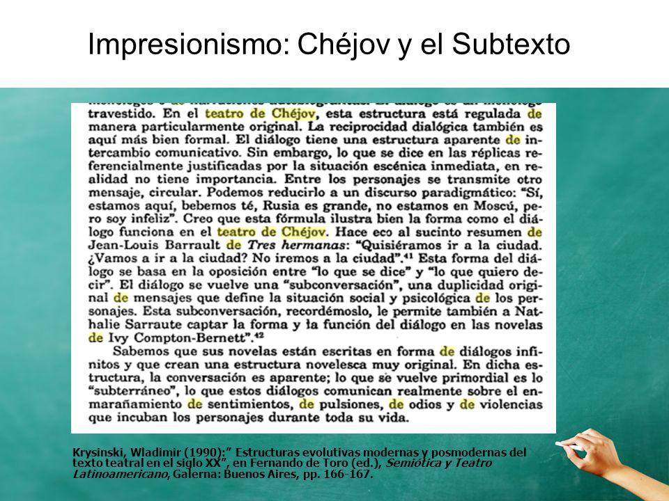 Impresionismo: Chéjov y el Subtexto Krysinski, Wladimir (1990): Estructuras evolutivas modernas y posmodernas del texto teatral en el siglo XX, en Fer