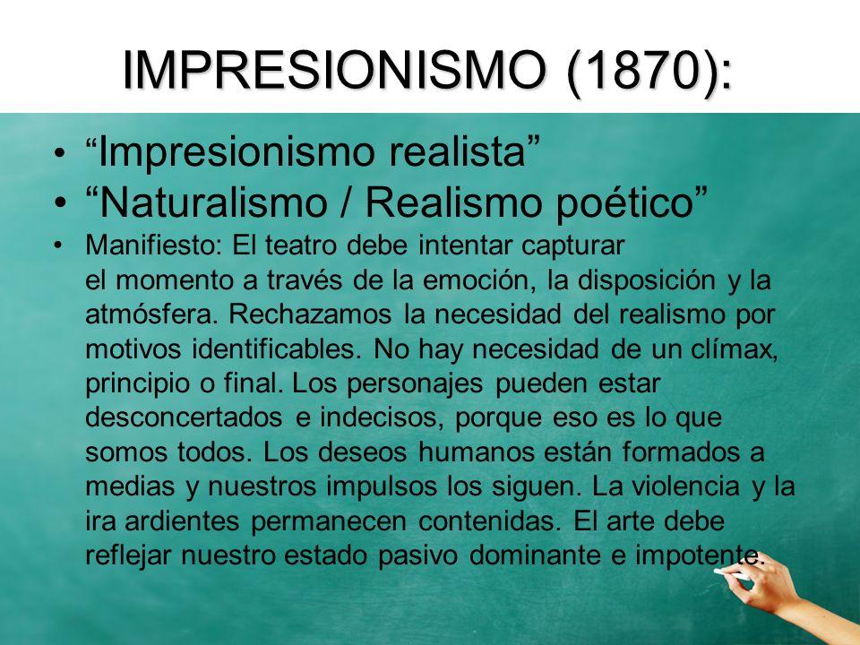 Impresionismo realista Naturalismo / Realismo poético Manifiesto: El teatro debe intentar capturar el momento a través de la emoción, la disposición y