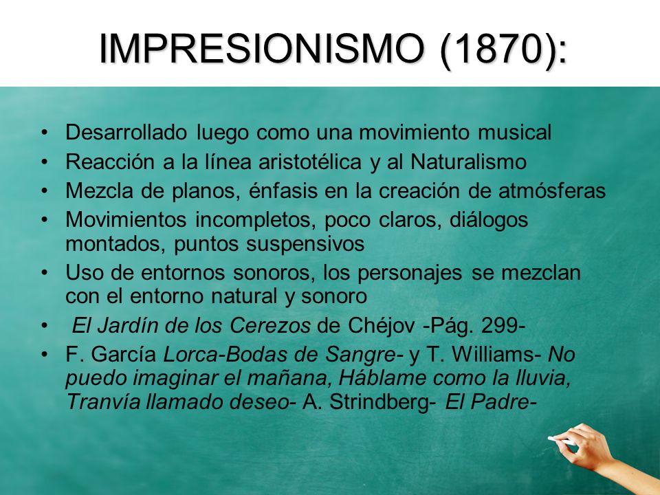 SIMBOLISMO (1885) Rechazan la relación: Percepción objetiva-Conocimiento-Representación (Naturalismo) Por: Intuición Subjetiva-Estética-Representación Rechazan también el Impresionismo, todavía apegado a las ideas y al cientificismo Raíces: WAGNER y BAUDELAIRE (Teoría de las Correspondencias) Manifiestos: Mallarmé, Moréas (Decadentismo) Debussy, Poe Interés por lo poético, el misterio, lo oculto, lo relativo, lo irracional, la sinestesia, los sentidos, la intuición