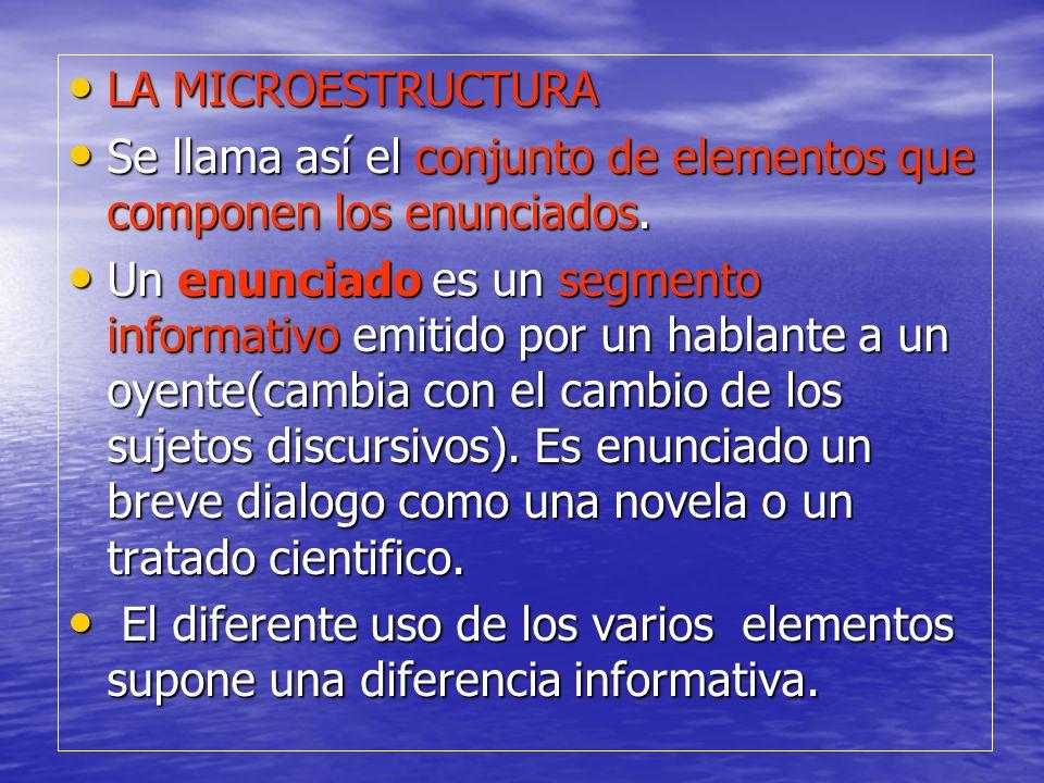 LA MICROESTRUCTURA LA MICROESTRUCTURA Se llama así el conjunto de elementos que componen los enunciados. Se llama así el conjunto de elementos que com