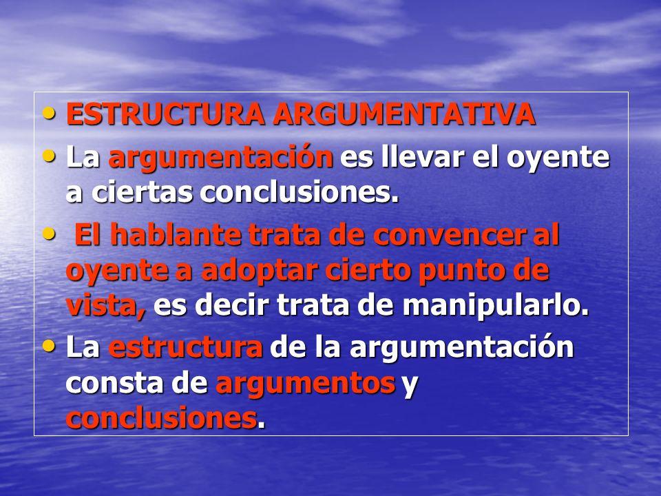 ESTRUCTURA ARGUMENTATIVA ESTRUCTURA ARGUMENTATIVA La argumentación es llevar el oyente a ciertas conclusiones. La argumentación es llevar el oyente a