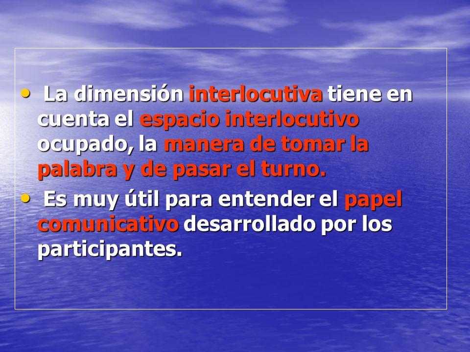 La dimensión interlocutiva tiene en cuenta el espacio interlocutivo ocupado, la manera de tomar la palabra y de pasar el turno. La dimensión interlocu