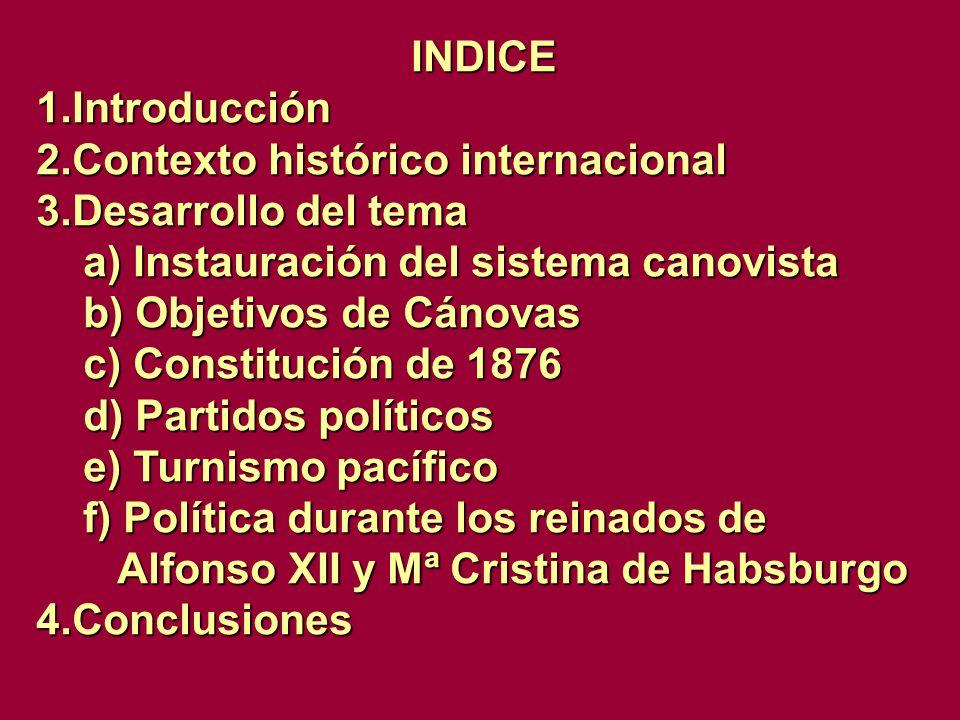 INDICE 1.Introducción 2.Contexto histórico internacional 3.Desarrollo del tema a) Instauración del sistema canovista a) Instauración del sistema canov