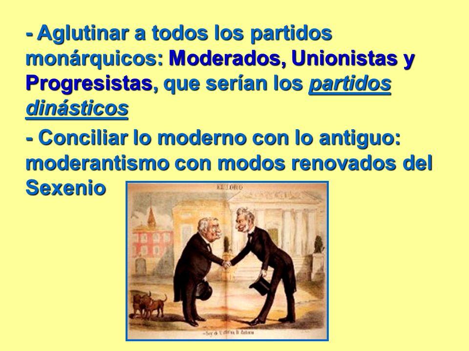 - Aglutinar a todos los partidos monárquicos: Moderados, Unionistas y Progresistas, que serían los partidos dinásticos - Conciliar lo moderno con lo a