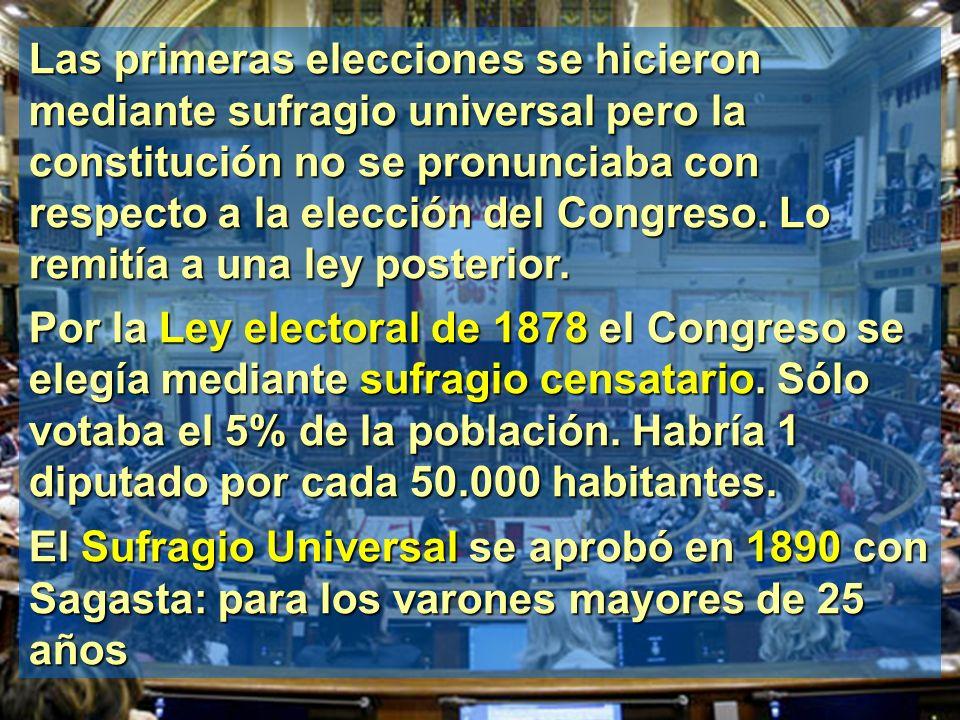 Las primeras elecciones se hicieron mediante sufragio universal pero la constitución no se pronunciaba con respecto a la elección del Congreso. Lo rem