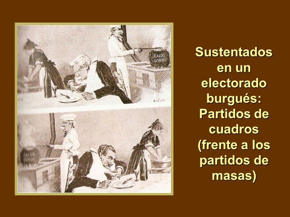 Sustentados en un electorado burgués: Partidos de cuadros (frente a los partidos de masas)