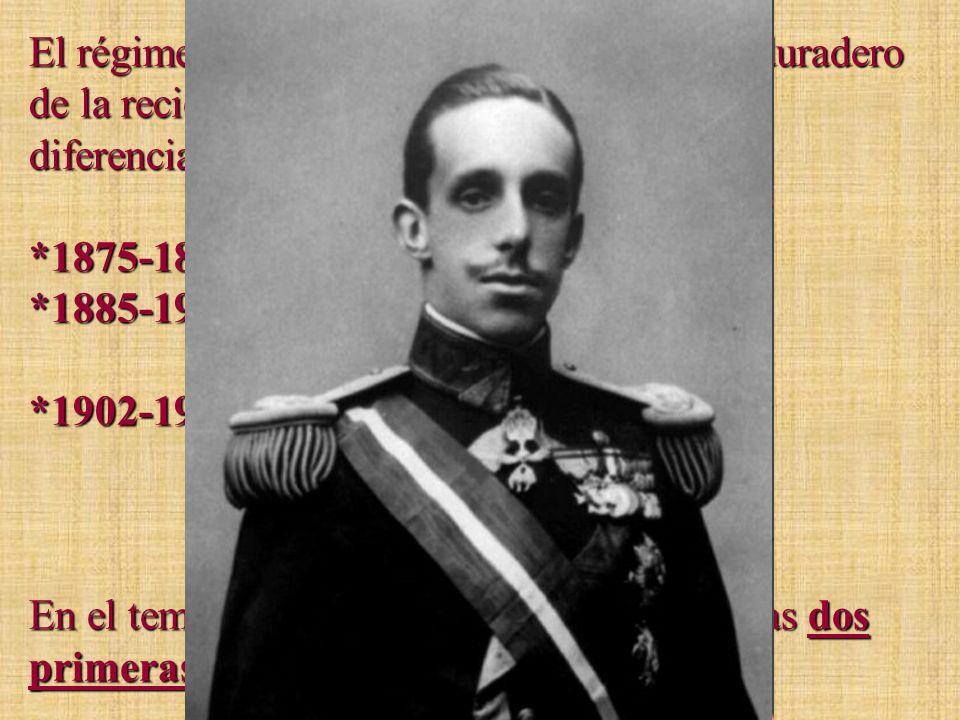 El régimen de la Restauración será el más duradero de la reciente historia de España. Podemos diferenciar tres etapas: *1875-1885: Reinado de Alfonso